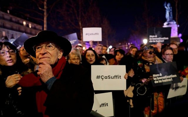 """People take part in a rally against antisemitism, at Republique square in Paris, on February 19, 2019. - A flare-up of anti-Semitic acts culminated in a violent tirade against a prominent writer during """"yellow vest"""" anti-government protests last weekend. 96 Jewish graves were also vandalised in the village of Quatzenheim, close to the border with Germany in the Alsace region on February 19, 2019, on the day of nationwide actions against a rise in anti-Semitic attacks. Getty Images"""