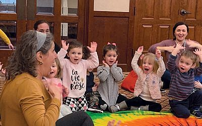 Randi Cohen leads the 2s class at Livingston's Temple Beth Shalom in a new Jewish music curriculum.  (Photos by Johanna Ginsberg)