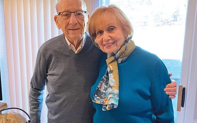 Mal Sumka, with his wife Myra in their Montville home, talked about his long career as a teacher of children and adults. Photo by Johanna Ginsberg