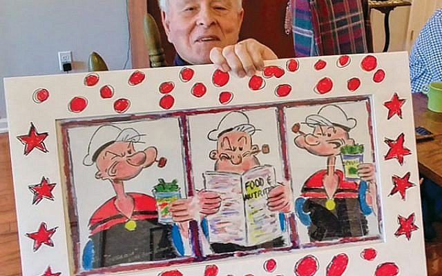 As with this triptych of Popeye portraits, Richard Brown's creativity often spreads to the frames around his work.