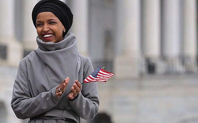 Rep. Ilhan Omar at a Democratic rally on the Capitol steps March 8. Chip Somodevilla/Getty Images