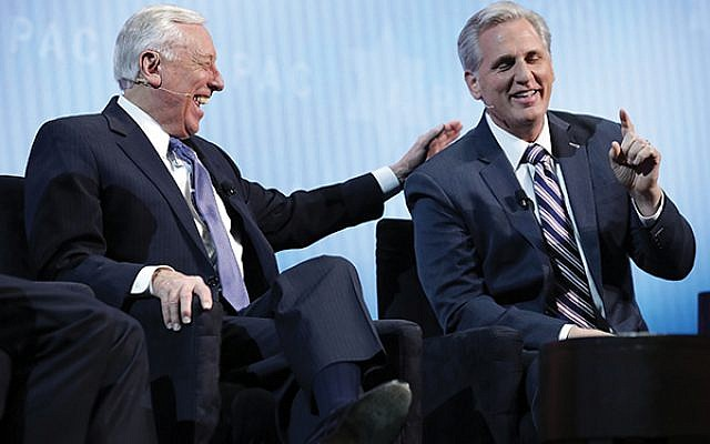 Israel support across the aisle: House Majority Whip Steny Hoyer (D-Md.), left,  and House Minority Leader Kevin McCarthy (R-Calif.) speak at this week's AIPAC conference. (Getty Images)