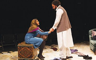 "Lipica Shah and Kareem Badr as Getee and Nazrullah in ""Heartland"" at Luna Stage. Photo by Jody Christopherson"