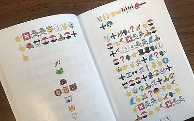 Can you decipher this? The new emoji haggadah is bound to strike up conversation at the seder table. (Courtesy of Martin Bodek)