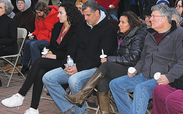 The Josephson family at the April 2 vigil, from left, Sydney, Seymour, and Marci.  (Courtesy John Nalbone, Robbinsville Communications and Public Information Officer)