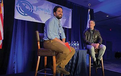 "Local chef and ""Chopped"" champion Meny Vaknin, at left, interviewed Michael Solomonov before a crowd of 400 at a Jewish Federation of Greater MetroWest fund-raiser on March 28. (Photos by Johanna Ginsberg)"