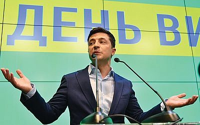 With no political experience, Jewish comic Volodymyr Zelensky, shown here Sunday after exit polls predicted his landslide victory, has become Ukraine's next president. GETTY IMAGES