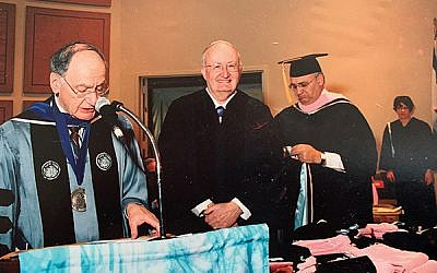 Edward Berman, center, receiving an honorary degree in 2006 from then-Jewish Theological Seminary Chancellor Ismar Schorsch, at left, with former Dean Henry Rosenblum of the H.L. Miller Cantorial School and College of Jewish Music. (Rosenblum was previously a chazzan at White Meadow Temple in Rockaway and Oheb Shalom Congregation in South Orange.) Photos Courtesy Berman Family