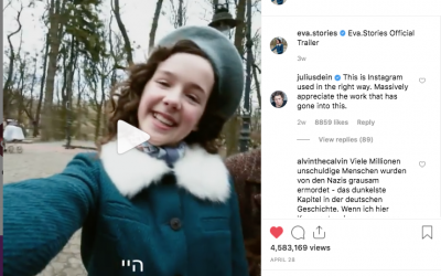 Eva.stories, based on the diary of Eva Heyman, a real 13-year-old Jewish girl from Hungary who was deported to, and killed in, Auschwitz in 1944, asks, what would the Shoah have looked like through Instagram? Screenshot/Instagram