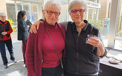 Eva Vogel, left, and Susan Stein of Morristown, both participants in the Drew University writing workshop, at a Holocaust symposium in April held at the College of Saint Elizabeth. Photo by Johanna Ginsberg