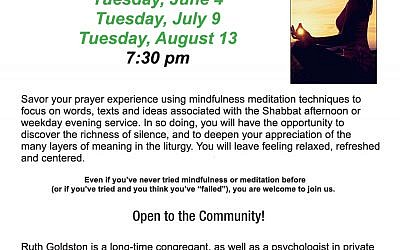TJC Flyer Meditation Mincha