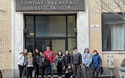 Teens from Maplewood-South Orange USY on a President's Day trip to Philadelphia. Courtesy Sam Jacobson