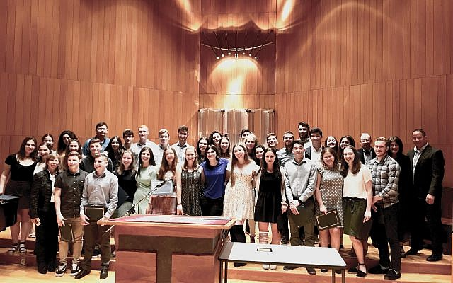 Class act: Write On For Israel graduated 44 high school seniors from its 17th cohort last week, bringing its alumni total to more than 700. The program is sponsored by NJJN and The New York Jewish Week with support from The Paul E. Singer Foundation. Photo by Lily Weinberg