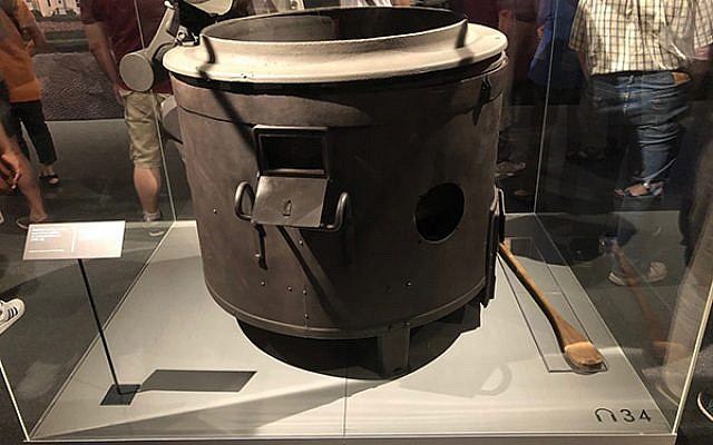 Prisoners' soup, consisting of water and a turnip or two, was prepared in this huge cauldron.  Photos by Jed Weisberger