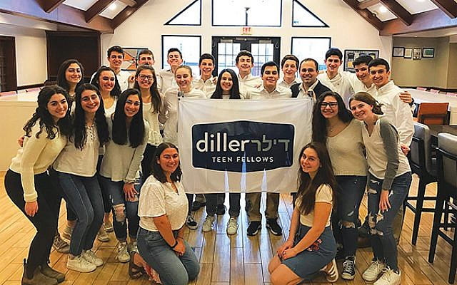 Diller Teen Fellows is an international Jewish leadership development program for high school sophomores and juniors that focuses on Jewish identity, Peoplehood, Israel, tikkun olam, and pluralism. Pictured is the Greater MetroWest NJ cohort at a Shabbaton.