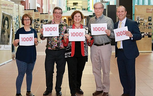 Create a Jewish Legacy leaders celebrate the 1,000-gift milestone: from left, Laura Cohen, legacy team coleader, Temple Beth-El Mekor Chaim, Cranford; and CJL leaders: chair Michael Schechner, program manager Karen Secular, advisory committee member Jon Ulanet, and past chair Gary Botwinick.
