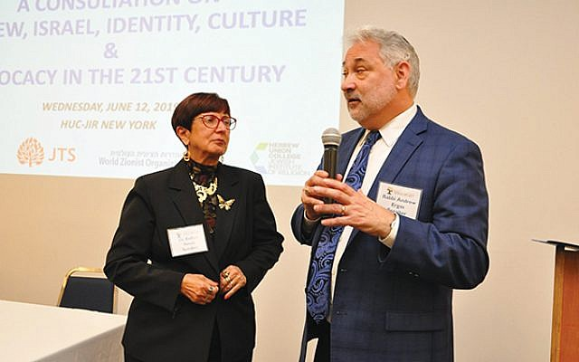 Rabbi Andrew Ergas, president of the Council for Hebrew Language and Culture in North America, which hopes to increase Hebrew proficiency among American Jews, with Dr. Esther Serok, North American representative of the World Zionist Organization, in New York City on June 12. Photo by Yaakov Cohen
