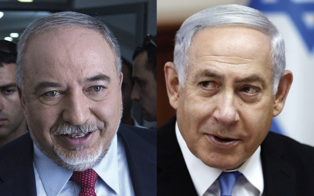Former Defense Minister Avigdor Lieberman, left, a longtime rival of Prime Minister Benjamin Netanyahu, is forcing a split on the Israeli right between secularists and the ultra-Orthodox. Getty Images
