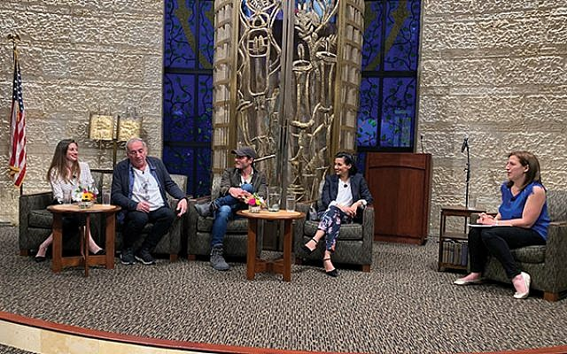 """""""Shtisel"""" cast members, from left, Neta Riskin, Doval'e Glickman, and Michael Aloni, along with producer Dikla Barkai, participated in a panel at Congregation Agudath Israel in Caldwell on June 13, moderated by local author Dara Horn. Photo by Johanna Ginsberg"""