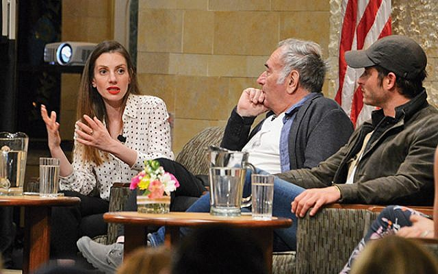 Neta Riskin, at left, told the audience that the show's wardrobe staff had a contest for the ugliest outfit for her character, Giti Weiss.