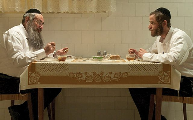 Meal ticket: Aloni, as Kive Shtisel, with Doval'e Glickman. The success of the show floored Aloni. Photo credit Ohad Romano