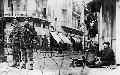 Illustrative photo: 4th January 1947:  British Paratroopers patrolling the streets of Tel Aviv after one of their officers, Major Brett, was captured and flogged by Jewish armed groups. (Photo by Keystone/Getty Images)