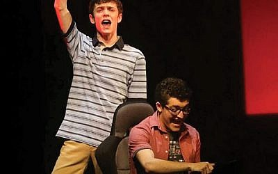 """Livingston's Jared Goldsmith, seated, plays Jared Kleinman in the national tour of """"Dear Evan Hansen,"""" here with cast member Ben Levi Ross.  Courtesy Jared Goldsmith"""