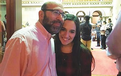Jay Goldberg of West Orange, with daughter Raizy, at the New York Child Victims Act hearings in Albany, N.Y. Photo provided by Jay Goldberg