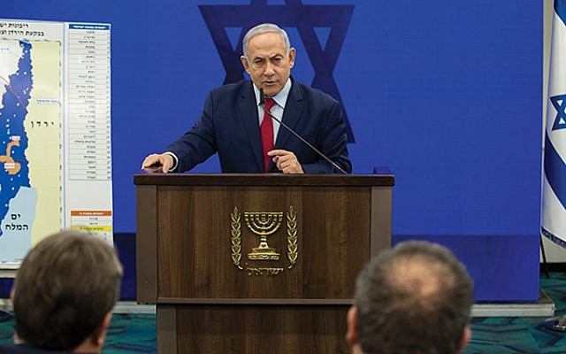Israeli Prime Minister Benjamin Netanyahu at a news conference Tuesday as he vowed to annex the Jordan Valley should he win the Sept. 17 election. Getty Images