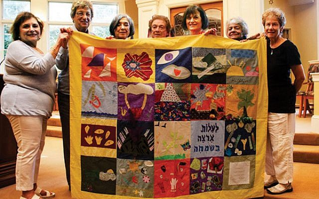 Members of Temple Emanu-El who commissioned the quilt in 2014 include, from left, Judi Kietz, Beverly Brodsky, Lois Steinberg, Helen Friedman, Linda Barr, Barbara Gross, and Jean Goldstein. Photos courtesy Temple SinaI