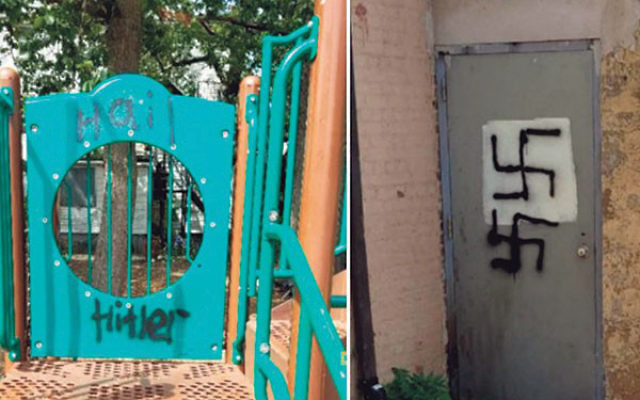 """Swastikas and the words """"Hail Hitler"""" were spray-painted in the Yeshiva Ketana playground in Lakewood this summer. Photos courtesy Anti-Defamation League"""