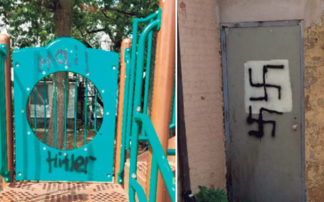 """Swastikas and the words """"Hail Hitler"""" were spray-painted in the playground at Yeshiva Ketana in Lakewood."""