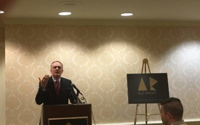 Jared Taylor, the editor of American Renaissance, addressing a news conference on the alt-right in Washington, D.C., on September 9, 2016, while Richard Spencer looks on.