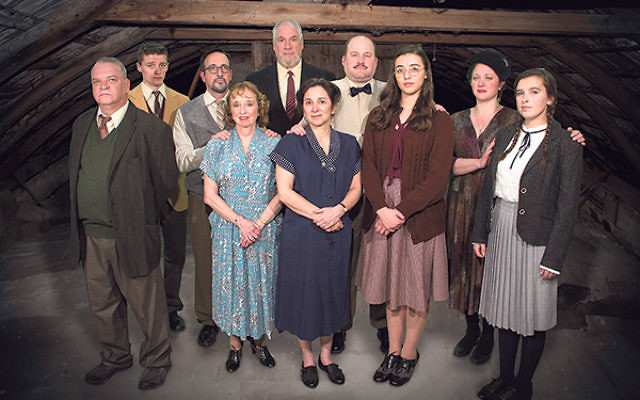 The cast of Pennington Players' production of The Diary of Anne Frank, from left, second row, Evan Braasch (Peter Van Daan), Paul Cohen (Hermann Van Daan), Sheldon Bruce Zeff (Viktor Kraler), Jack Bathke (Otto Frank), and, first row, Matthe