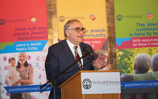 "Former Yeshiva University president and Hillel International president and CEO Richard Joel said federation helps ""make a thousand flowers bloom"" in the Jewish community. Photos courtesy the Jewish Federation in the Heart of NJ"