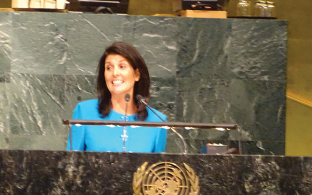 "U.S. ambassador to the UN Nikki Haley called BDS efforts on college campuses and at the UN ""extensions of an ancient hatred."" Photo by Robert Wiener"