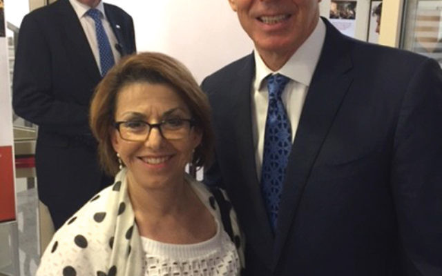 Former Prime Minister Tony Blair poses with Sylvia Weiss of San Antonio, a supporter of the Institute for the Study of Global AntiSemitism and Policy. Photo courtesy Barbara Wind