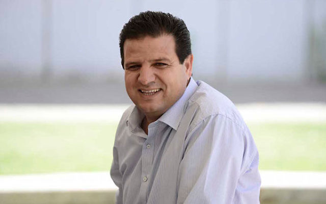 Leader of the Arab Joint List Ayman Odeh at a Tel Aviv University rally marking the Nakba anniversary, May 20, 2015. (Tomer Neuberg/Flash90)