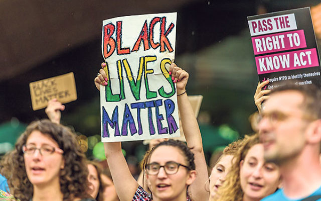 The Jewish community in New York held a rally for the Black Lives Matter movement outside the Barclays Center in Brooklyn, July 28.
