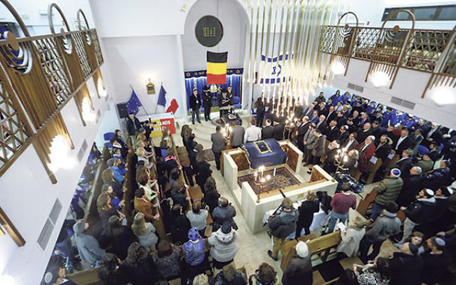A tribute ceremony in the Maale synagogue in Brussels days after the attacks on the Charlie Hebdo newspaper and the Hyper Cacher kosher market, Jan. 14, 2015.