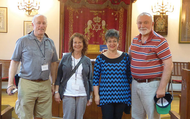 Visiting the synagogue at the Jewish Community Center in Skopje, Macedonia, are, from left, Hal and Barbara Crane and Bella and Simon Zelingher.