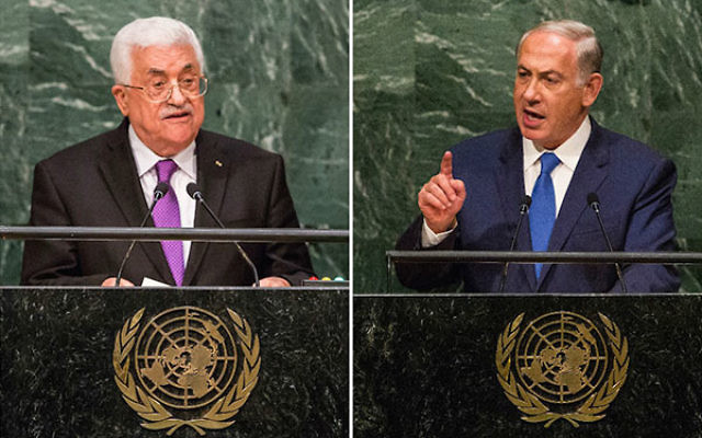 Palestinian Authority President Mahmoud Abbas, left, and Israeli Prime Minister Benjamin Netanyahu speaking at the U.N. General Assembly in New York City on Sept. 30, 2015, and Oct. 1, 2015 respectively. (Both Andrew Burton/Getty Images)