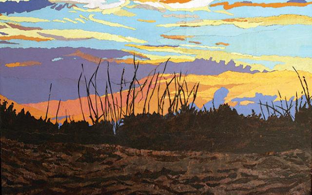 Leah K. Tomaino's Dusk Fishing Hutchinson Island, brown bag and acrylic on canvas