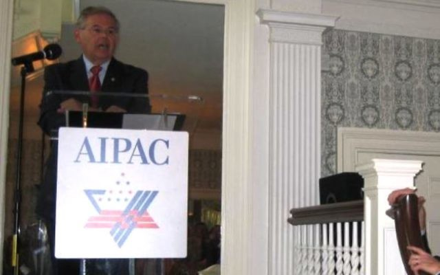 In an undated photo, NJ. Sen. Robert Menendez seaks at an AIPAC event in Morristown, NJ.