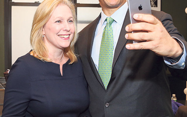 Sen. Cory Booker takes a selfie with Sen. Kirsten Gillibrand, moderator of a Feb. 21 discussion at the 92nd Street Y in Manhattan.