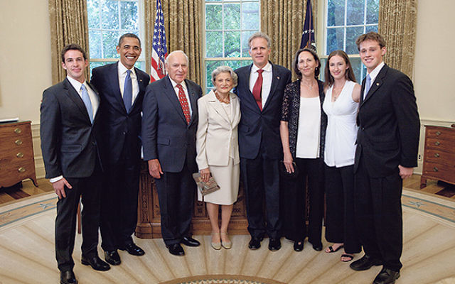Lester and Marilyn Bornstein, their son Michael Oren, center, and his family meet President Obama at the White House in July 2009 after Oren, then Israel's new U.S. ambassador, formally presented his credentials.