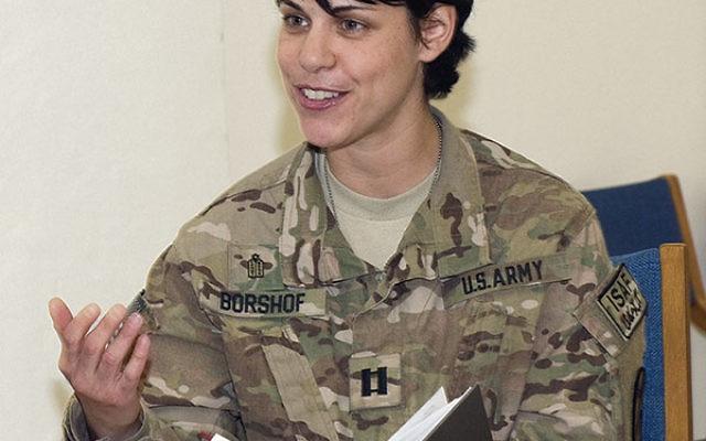 Battalion chaplain Capt. Heather Borshof speaks at a Shabbat service at Bagram Air Field, Afghanistan, on March 14.