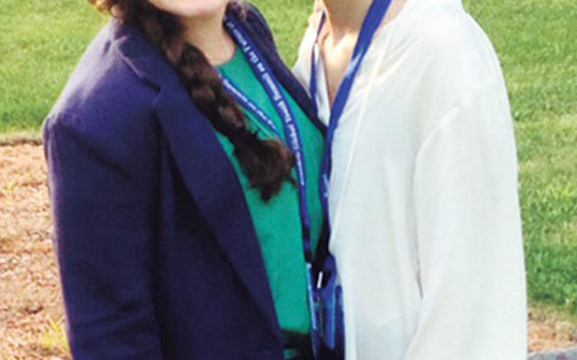 Lindsay Chevlin, left, and Philippa Chown at the Global Youth Summit on the Future of Medicine, at Brandeis University.
