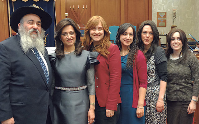 At the March 1 Bris Avrohom event are, from left, Rabbi Mordechai and Shterney Kanelsky, their daughters Chanie Wilschanski and Brochie Kanelsky, and their daughters-in-law Chaya and Chani.