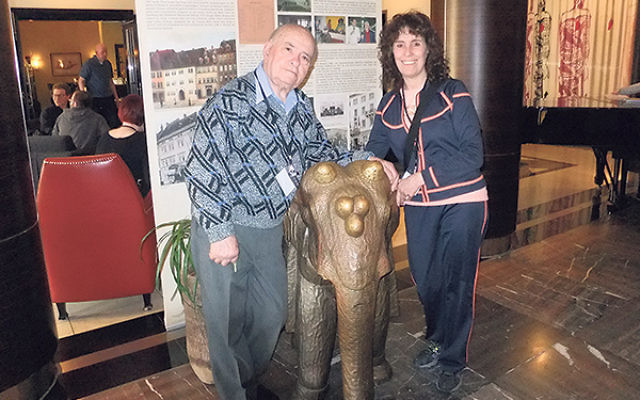 Holocaust survivor Sol Lurie and Laurie Gang in the lobby of the Elephant Hotel in Weimar, known as Hitler's favorite hotel, where visiting Jewish survivors and their guests stayed while attending the 70th anniversary of the liberation of Buchenwald